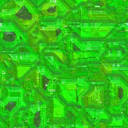 Seamless computer circuity pattern in a lime green hue. photo