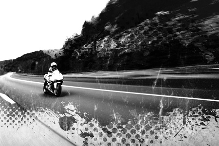Abstract illustration of a woman driving a motorcycle at highway speeds with grunge halftone and splatter elements.