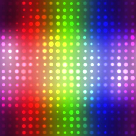 Rainbow glowing halftone dots in rows. A funky and modern looking background texture. photo