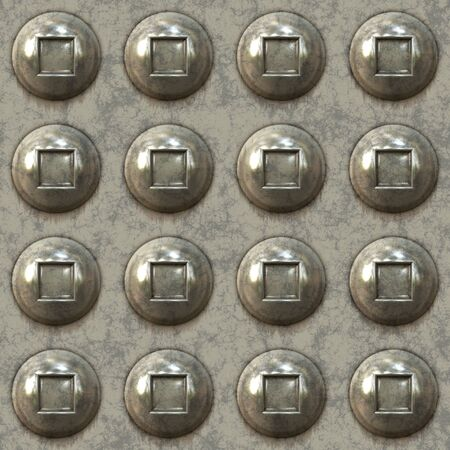 A seamless 3D illustration of some metal rivets in rows.  This image creates a pattern when tiled in any direction.