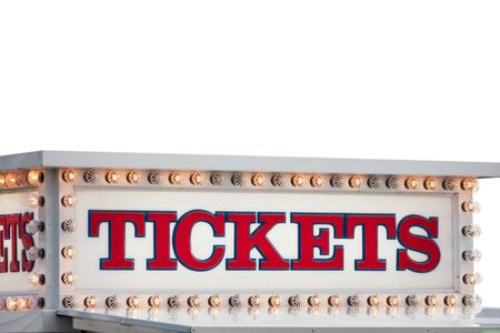 A carnival ticket booth sign isolated over white. Reklamní fotografie - 8739466