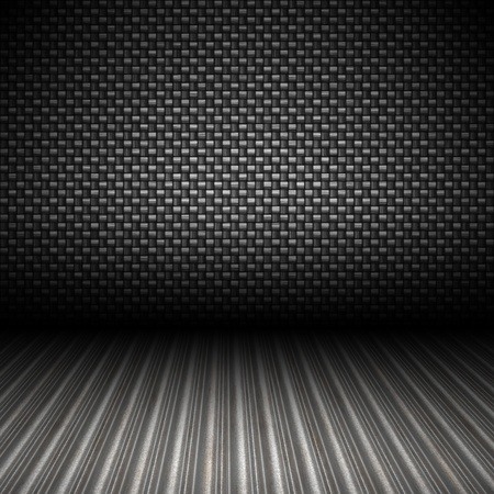carbon steel: A realistic carbon fiber textured backdrop with 3D perspective and a corrugated metal floor. Stock Photo