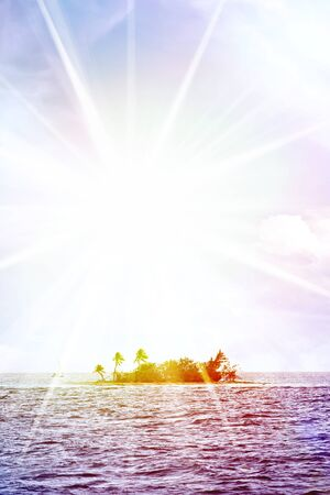 A small desert island off the coast of Puerto Rico called Palominito with bright lens flare. photo