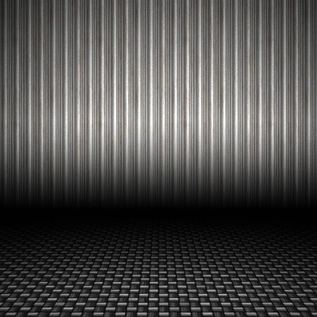 automotive industry: A realistic corrugated metal textured backdrop with 3D perspective and a carbon fiber floor.