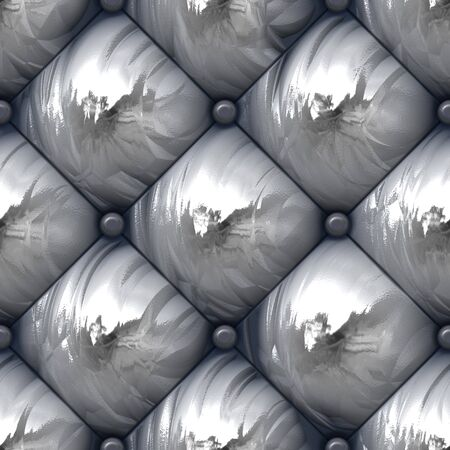 A 3D illustration of a seamlessly patternable silver padded upholstery texture.