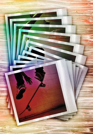 A montage of instant file photo frames arranged on a wood table with a skateboarder doing a jump or stunt.