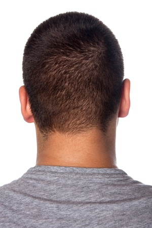 short: A closeup of the back of a young mans head and neck isolated over a white background. Stock Photo