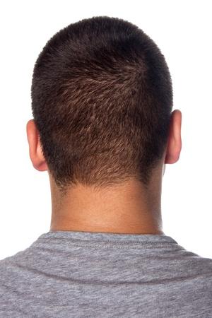 coupe de cheveux homme: Un gros plan de l'arri�re d'une t�te de jeune mans et du cou isol� sur un fond blanc.