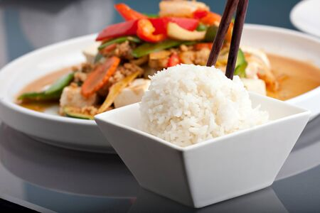 stir fry: Fresh Thai food stir fry with tofu and white jasmine rice.