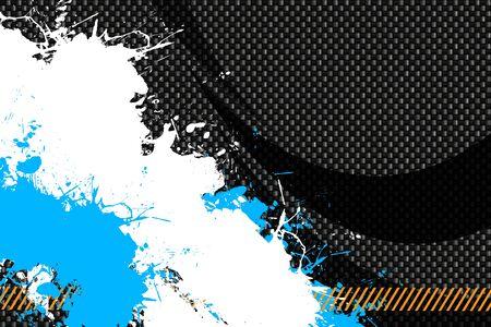 hazard stripes: A hazard stripes paint splatter background with dark carbon fiber accents.