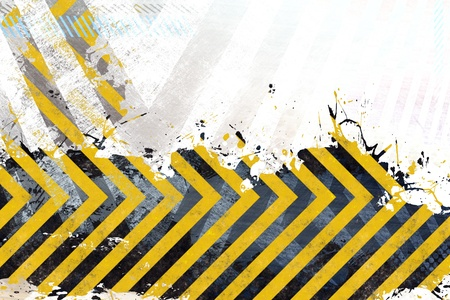 hazard stripes: A hazard stripes background with grungy splatter textures isolated over white.
