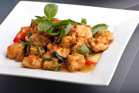 Fresh Thai food stir fry with stir fried tofu. photo