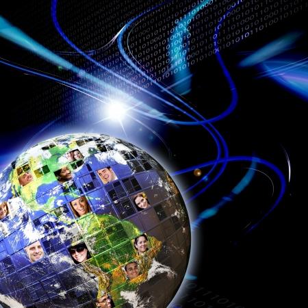 Illustré de montage de la terre avec un réseau mondial de personnes de tous horizons sur différents continents Banque d'images - 9145581