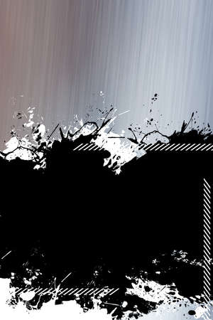 Abstract splatter background with brushed metal accents and copy space for your text or artwork. Stock Photo