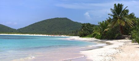 Panoramic view of the gorgeous white sand filled Flamenco beach on the Puerto Rican island of Culebra. Stock Photo