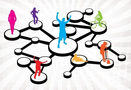 referidos: Una ilustraci�n de diferentes tipos de personas conectadas en diferentes formas.  Esto funciona muy bien por referencia social de redes o de boca en boca conceptos de marketing.