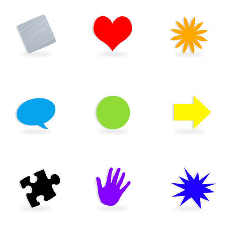 A collection of icons or button symbols of different shapes and colors isolated over a white background. Stock Photo - 9591392