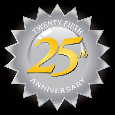 A silver twenty fifth 25th anniversary seal isolated over a black background.  This vector image is easily customized to suit your needs. Reklamní fotografie - 9631461