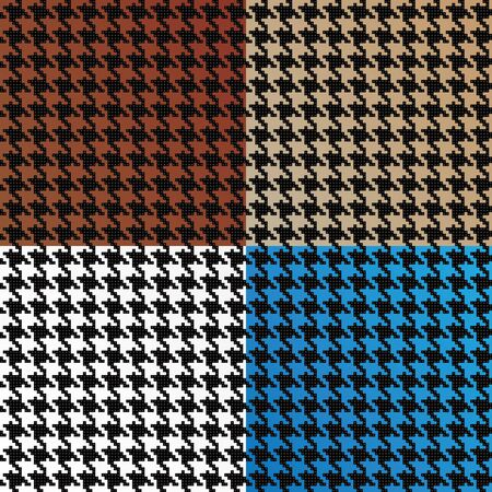 Trendy houndstooth patterns made out of tiny squares in a variety of different colors that tile seamlessly as a pattern. This vector is fully editable. Иллюстрация