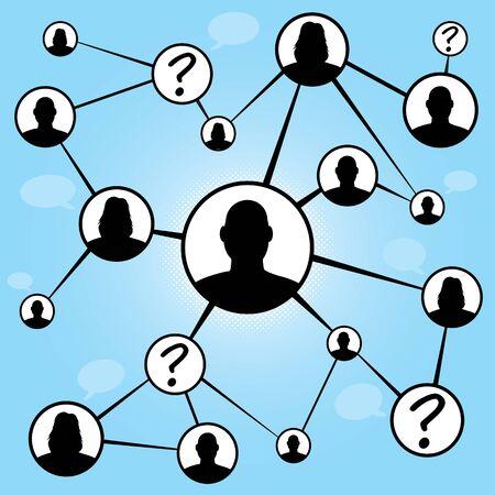 referidos: Un diagrama de diagrama de flujo de diferentes hombres y mujeres juntos conectando a trav�s de los medios de comunicaci�n social o redes sociales.  Ideal para la remisi�n de boca en boca de marketing o encuentro conceptos.
