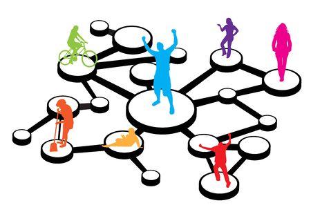 人々 の異なる種類の図は、さまざまな方法で接続。これはマーケティングの概念社会的なネットワー キングまたは口伝えの紹介のために素晴らしい  イラスト・ベクター素材
