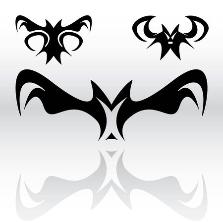 Three different original vampire bat cliparts in a tribal or gothic looking style for use as art elements or icons. Vector