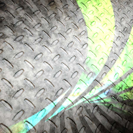ironworks: Steel diamond plate texture with green abstract swoosh lines. A grungy industrial style backdrop that works great in any layout.