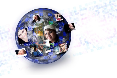 courtoisie: Gens du monde avec leurs photos � �clater de diff�rentes parties de la terre. ?uvres de grands pour les concepts de technologie des m�dias sociaux. Photo originale de terre de la NASA. Banque d'images