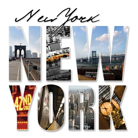 A New York City themed montage or collage featuring different famous locations and areas of The Big Apple. photo