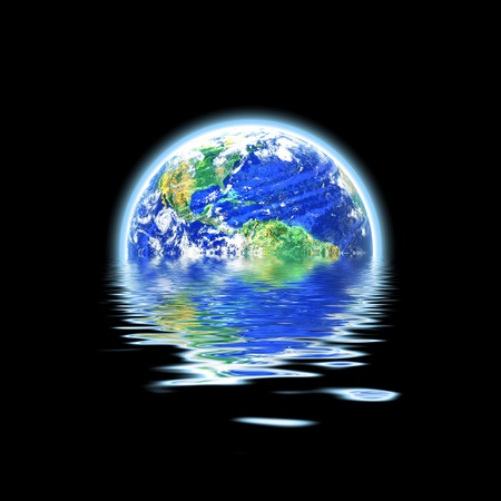 The earth floating in a pool of water that works great for flood concepts global warming or even the scuba diving and oceanography fields. Original earth photo courtesy of NASA. photo