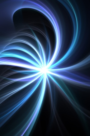 A bright fractal solar burst illustration in tons of blue and purple that works great as a design element. illustration