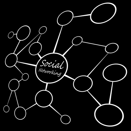 networked: An empty flow chart diagram with circles connecting together. A great social media or social networking concept.  Add your own text or images. Stock Photo