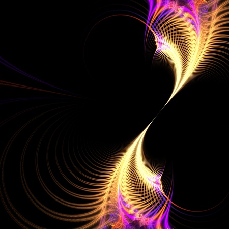 A purple and golden surreal fractal vortex with an abstract look and feel.   photo