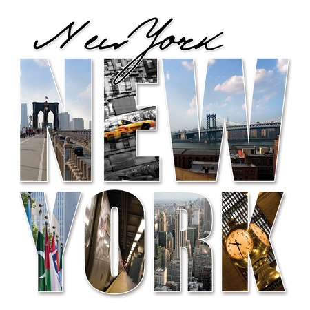 travel collage: A New York City themed montage or collage featuring different famous locations and areas of The Big Apple.