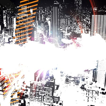 urban grunge: A city grunge style layout with copy space and city building silhouettes.
