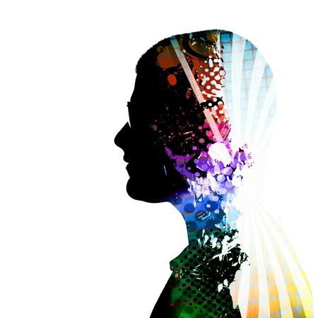 pensador: Un creativo montaje de una silueta de perfil junto a un hombre con gafas y coloridos acentos artísticos dentro de su mente y cuerpo.