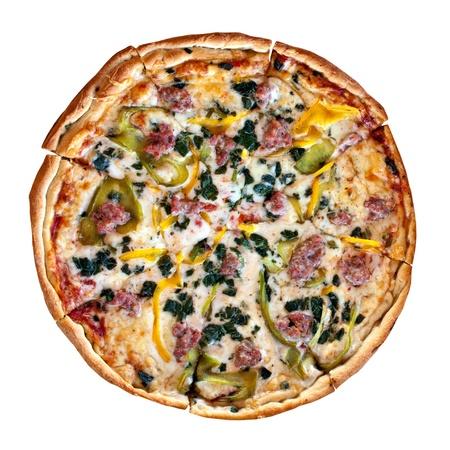 specialit�: Una pizza fresca specialit� fatte in casa con i condimenti pi� caldo e fresco del forno. Profondit� di campo.