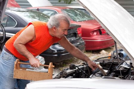 junk yard: A man looking for car parts on decommissioned junk cars at an automotive scrap yard. Stock Photo
