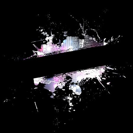 dangerous construction: A paint splatter layout with fractal  effects.   Stock Photo
