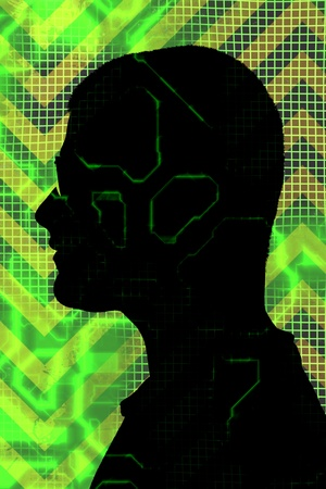 Male profile silhouette overlayed with digital circuitry and green electronic accents. photo