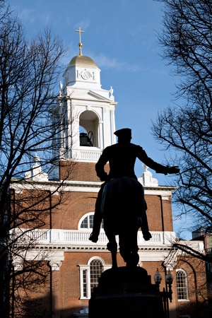 revere: Paul Revere Monument found in Bostons North End on the freedom trail.   Stock Photo