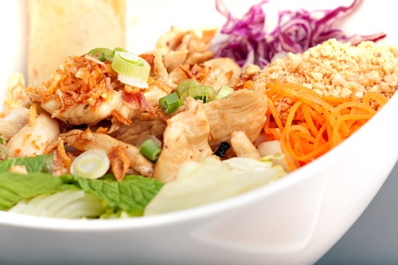 Freshly prepared Thai salad with spring rolls in a white bowl. photo