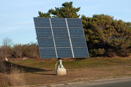 photoelectric: Modern solar panel used for generating electricity from the sunlight. Stock Photo