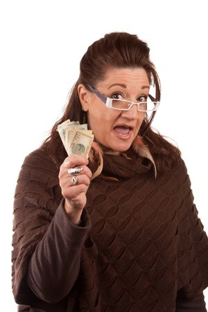Woman holding money in her hand and shouting or cheering isolated on white.  A great concept for auction bidding or even shopping.