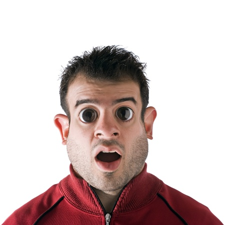 Funny looking man with large eyes and a fat face. Digital photo manipulation.