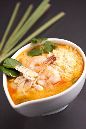 Thai shrimp soup bowl with nice garnish. Stock Photo - 14014133