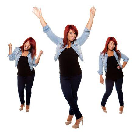 Mujer joven con orgullo muestra su cuerpo después de la pérdida de peso aislado en un fondo blanco. Foto de archivo - 14745299