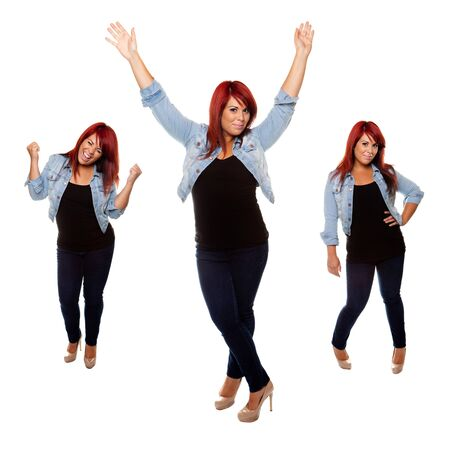 physique: Young woman proudly shows off her physique after weight loss isolated on a white background.