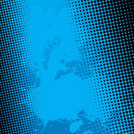 Blue paint splatter textured background with black halftone dots. Vector