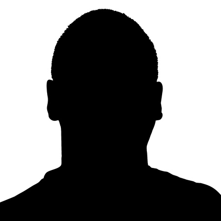Silhouette of a mans head in black over a white background in  format. 向量圖像